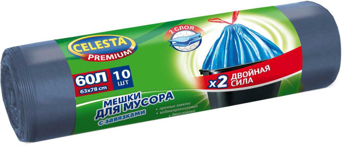 Мешки для мусора Celesta, 60 л, 10 шт, с завязками4481В 3 раза прочнее стандартного мешка; увеличенный полезный объем; при проколе мешок не рвется и не расползается