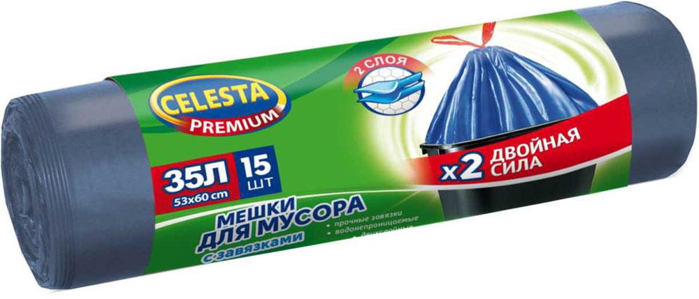 Мешки для мусора Celesta, 35 л, 15 шт, с завязками4467В 3 раза прочнее стандартного мешка; увеличенный полезный объем; при проколе мешок не рвется и не расползается
