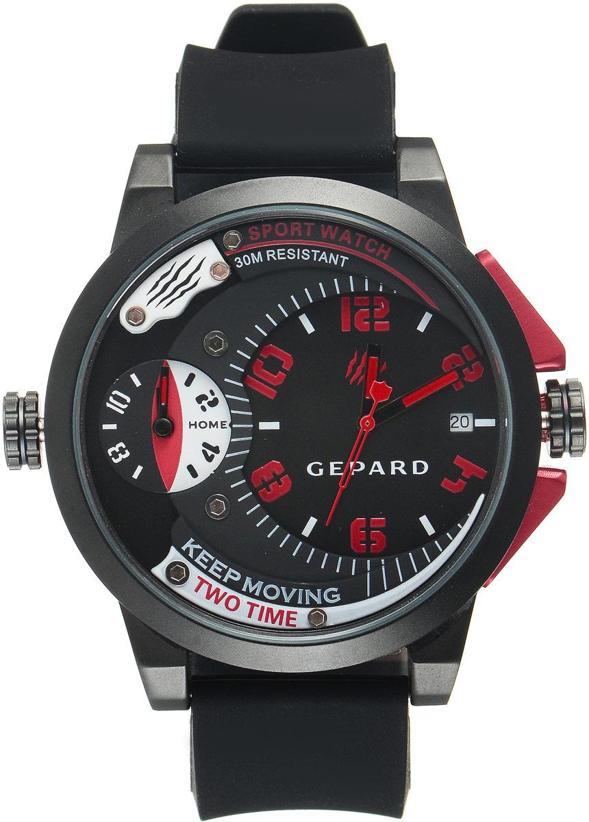 Наручные часы мужские Gepard, цвет: черный, красный. 1221A11L51221A11L5Наручные часы Gepard выполнены из металла и минерального стекла. Циферблат оформлен символикой бренда. Корпус часов оформлен матовой поверхностью с весьма оригинальным циферблатом. Часы оснащены кварцевым механизмом, дополнены устойчивым к царапинам минеральным стеклом. Ремешок выполнен из силикона и оснащен пряжкой, благодаря которой можно с легкостью снимать и надевать изделие.