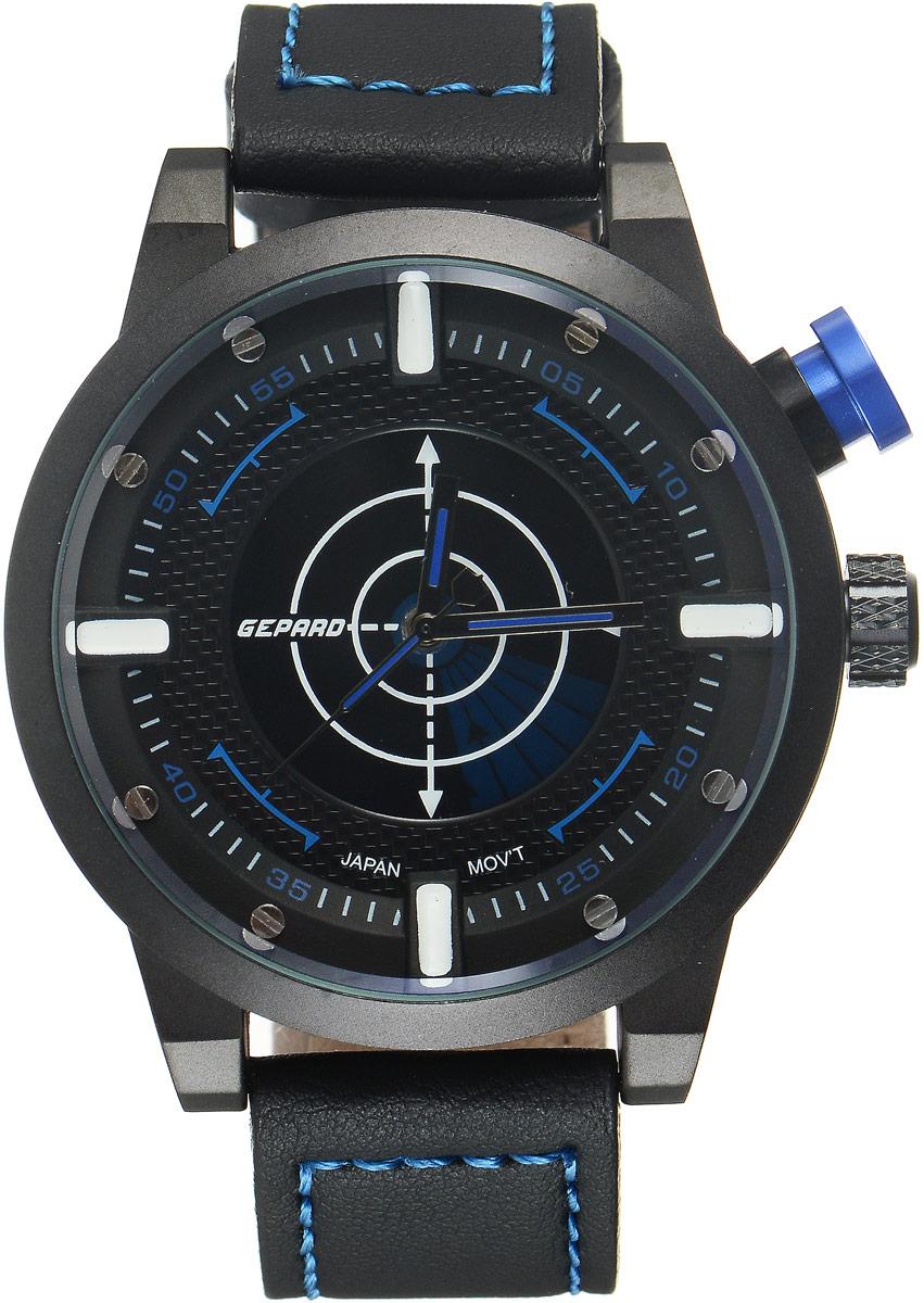 Наручные часы мужские Gepard, цвет: черный, синий. 1225A11L31225A11L3Наручные часы Gepard выполнены из металла и минерального стекла. Циферблат оформлен в четырех уровнях, что придает этим бескомпромиссно мужским часам современный вид. При нажатии на большую кнопку над переводной головкой в центральной части циферблата запускается и останавливается вращение сектора, обегающего круг за четыре секунды. Минеральное стекло с сапфировым напылением устойчиво к царапинам. Ремень из искусственной кожи с контрастной прострочкой комплектуется стальной застежкой-пряжкой, гарантирующей комфорт и надежность.