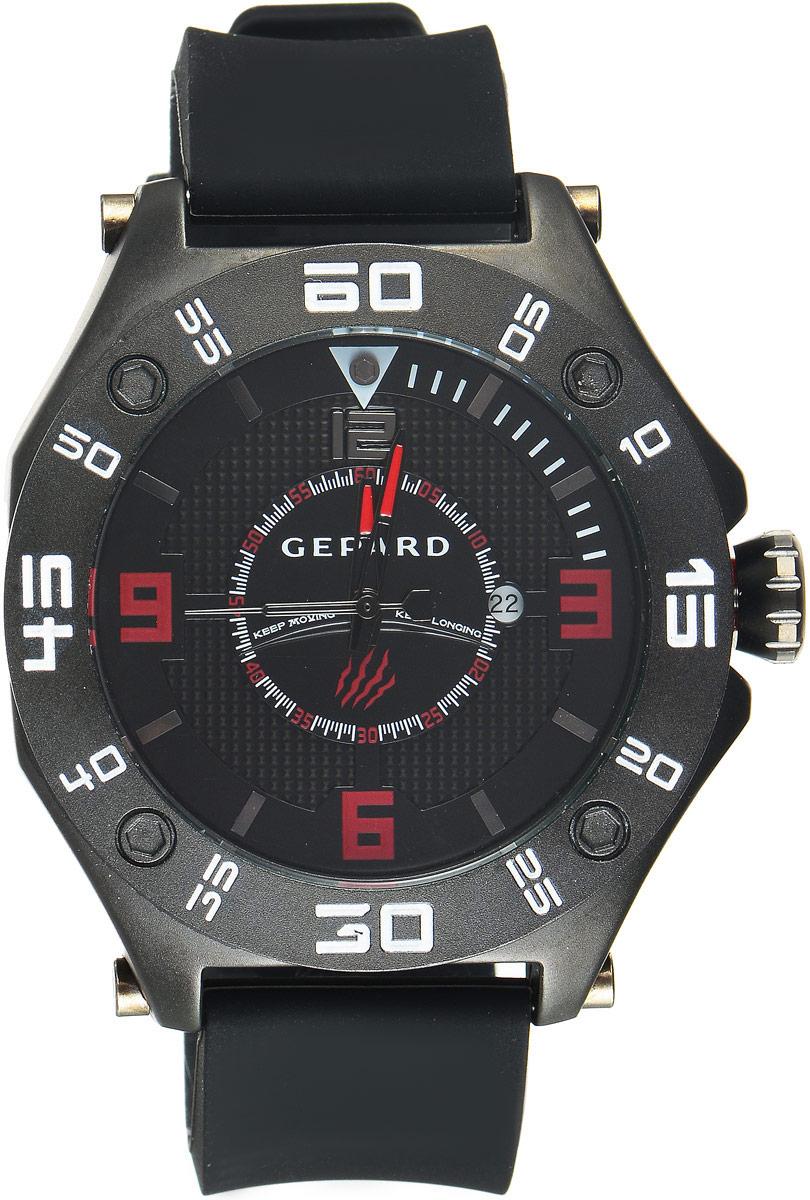 Наручные часы мужские Gepard, цвет: черный. 1222A11L21222A11L2Наручные часы Gepard выполнены из металла. Циферблат оформлен символикой бренда. Оригинальная композиция двухуровневого циферблата представлена в виде сочетания ярких арабских цифр и широких стальных знаков, которую оттеняет необычное гильоширование «женевские гвозди» на нижнем уровне. Часы оснащены кварцевым механизмом, дополнены устойчивым к царапинам минеральным стеклом. Задняя крышка изготовлена из высокотехнологичной нержавеющей стали. Часы снабжены эргономичным силиконовым ремнем с надежной застежкой.