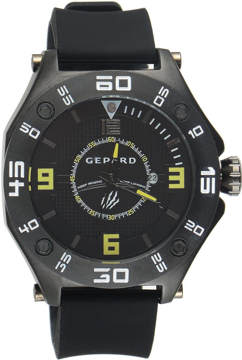 Наручные часы мужские Gepard, цвет: черный. 1222A11L51222A11L5Наручные часы Gepard выполнены из металла. Циферблат оформлен символикой бренда. Оригинальная композиция двухуровневого циферблата представлена в виде сочетания ярких арабских цифр и широких стальных знаков, которую оттеняет необычное гильоширование «женевские гвозди» на нижнем уровне. Часы оснащены кварцевым механизмом, дополнены устойчивым к царапинам минеральным стеклом. Задняя крышка изготовлена из высокотехнологичной нержавеющей стали. Часы снабжены эргономичным силиконовым ремнем с надежной застежкой.
