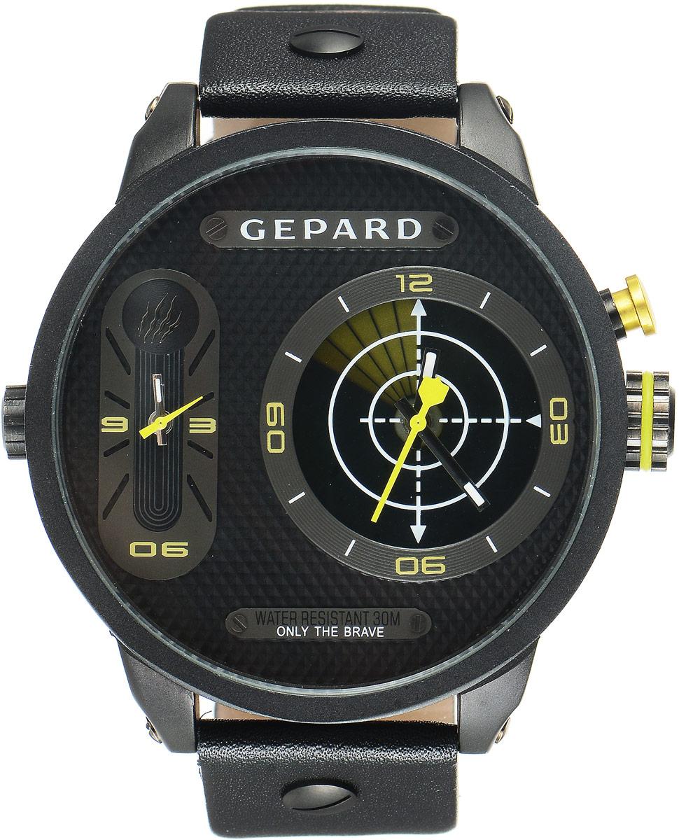 Наручные часы мужские Gepard, цвет: черный, желтый. 1224A11L51224A11L5Наручные часы Gepard выполнены из металла и минерального стекла. Циферблат оформлен символикой бренда. На гильошированной поверхности два циферблата, позволяющих определить время в разных часовых поясах. При нажатии на кнопку над большой заводной головкой на круглом циферблате запускается и останавливается вращение сектора, обегающего круг за четыре секунды. Корпус изделия оснащен кварцевым механизмом, дополнен устойчивым к царапинам минеральным стеклом. Ремешок выполнен из искусственной кожи и оснащен пряжкой, благодаря которой можно с легкостью снимать и надевать изделие.