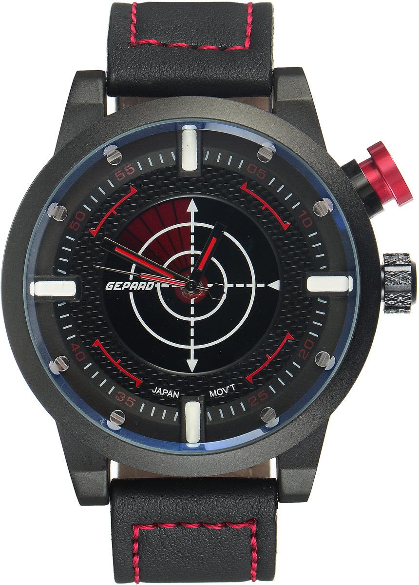 Наручные часы мужские Gepard, цвет: черный, красный. 1225A11L21225A11L2Наручные часы Gepard выполнены из металла и минерального стекла. Циферблат оформлен в четырех уровнях, что придает этим бескомпромиссно мужским часам современный вид. При нажатии на большую кнопку над переводной головкой в центральной части циферблата запускается и останавливается вращение сектора, обегающего круг за четыре секунды. Минеральное стекло с сапфировым напылением устойчиво к царапинам. Ремень из искусственной кожи с контрастной прострочкой комплектуется стальной застежкой-пряжкой, гарантирующей комфорт и надежность.