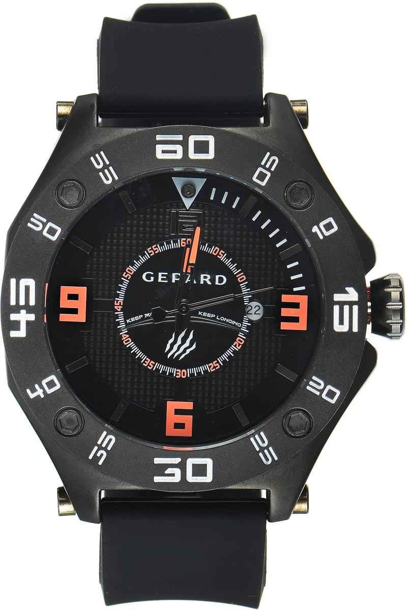 Наручные часы мужские Gepard, цвет: черный. 1222A11L41222A11L4Наручные часы Gepard выполнены из металла. Циферблат оформлен символикой бренда. Оригинальная композиция двухуровневого циферблата представлена в виде сочетания ярких арабских цифр и широких стальных знаков, которую оттеняет необычное гильоширование «женевские гвозди» на нижнем уровне. Часы оснащены кварцевым механизмом, дополнены устойчивым к царапинам минеральным стеклом. Задняя крышка изготовлена из высокотехнологичной нержавеющей стали. Часы снабжены эргономичным силиконовым ремнем с надежной застежкой.