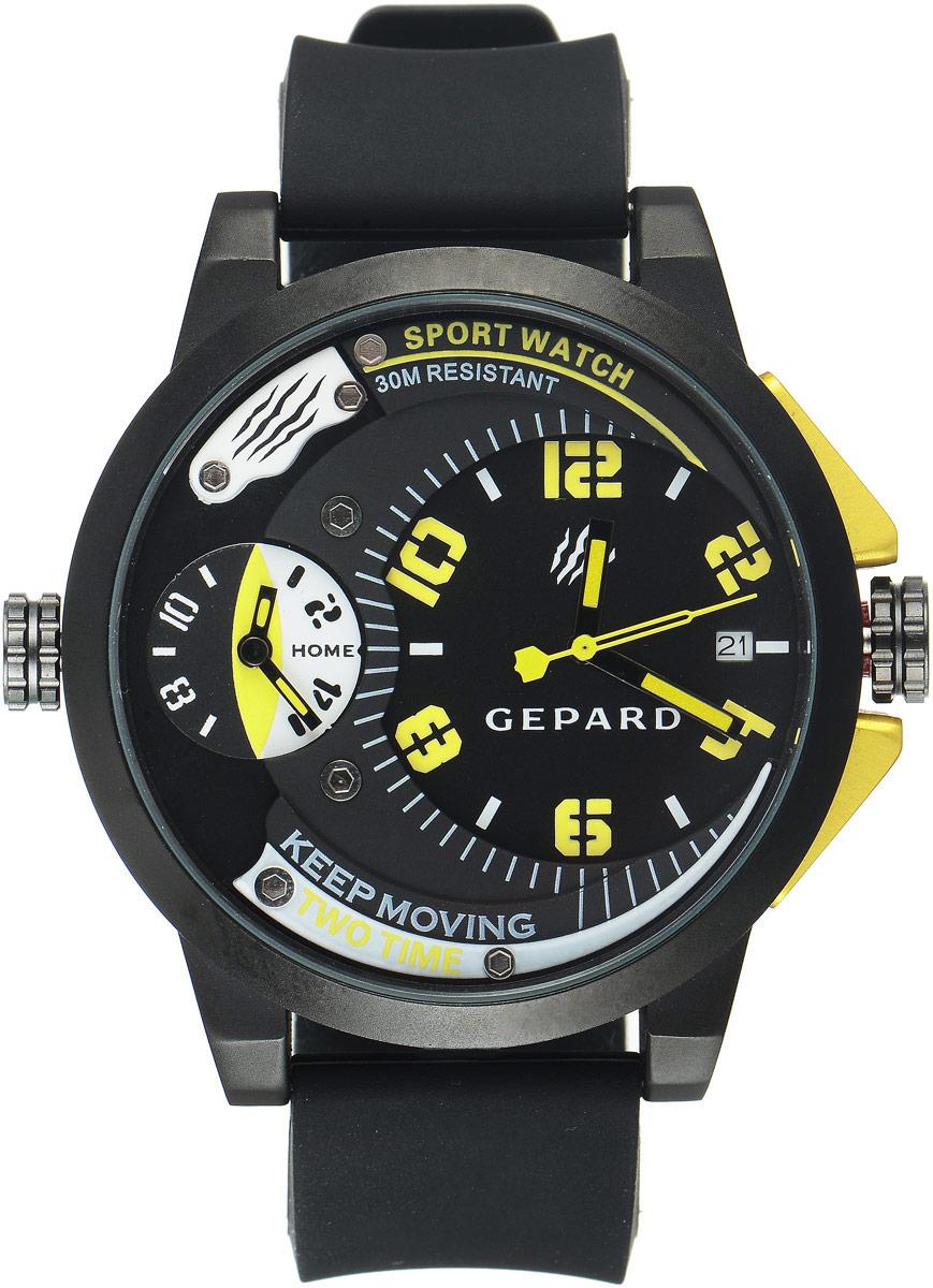Наручные часы мужские Gepard, цвет: черный, желтый. 1221A11L61221A11L6Наручные часы Gepard выполнены из металла и минерального стекла. Циферблат оформлен символикой бренда. Корпус часов оформлен матовой поверхностью с весьма оригинальным циферблатом. Часы оснащены кварцевым механизмом, дополнены устойчивым к царапинам минеральным стеклом. Ремешок выполнен из силикона и оснащен пряжкой, благодаря которой можно с легкостью снимать и надевать изделие.