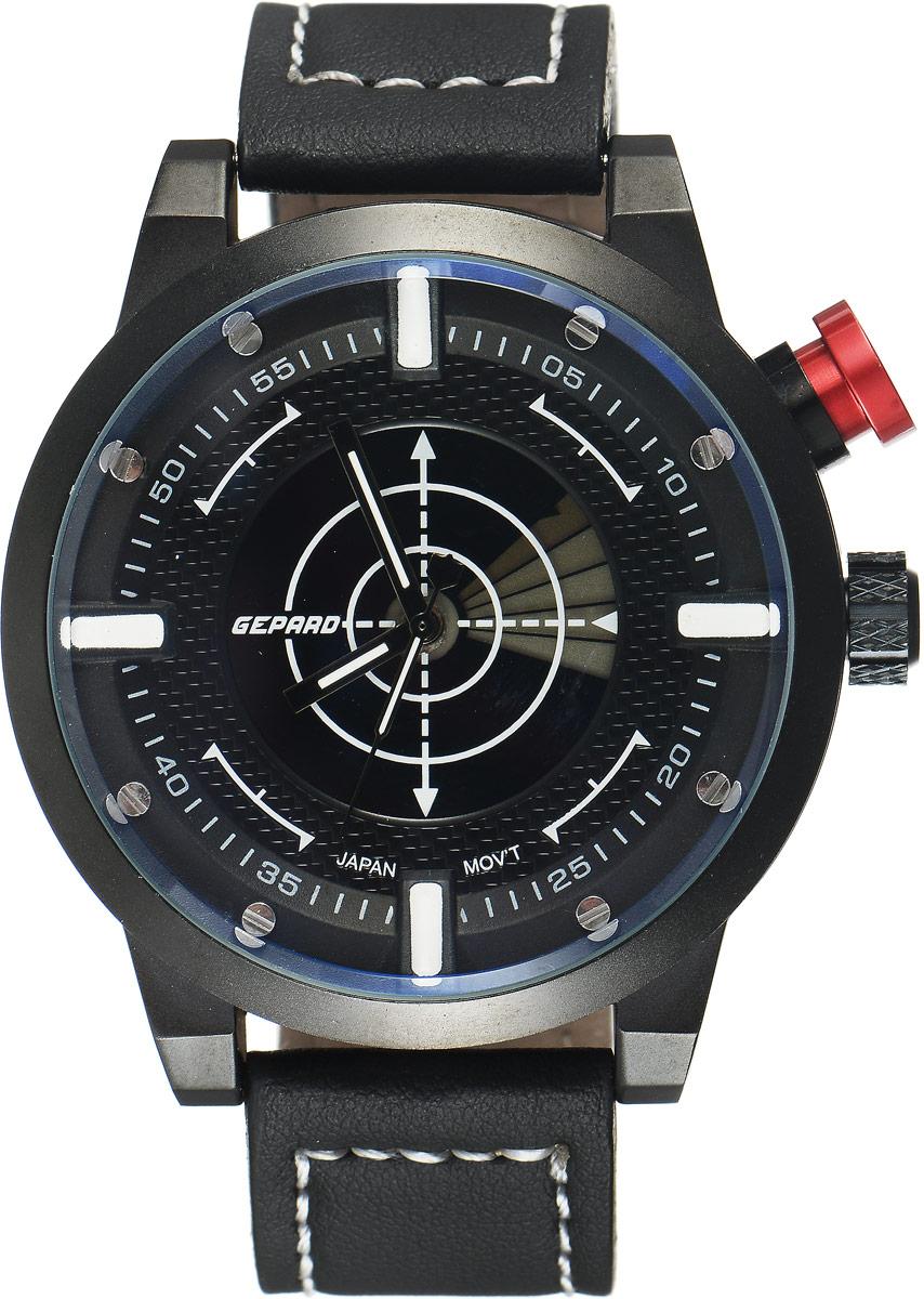 Наручные часы мужские Gepard, цвет: черный. 1225A11L11225A11L1Наручные часы Gepard выполнены из металла и минерального стекла. Циферблат оформлен в четырех уровнях, что придает этим бескомпромиссно мужским часам современный вид. При нажатии на большую кнопку над переводной головкой в центральной части циферблата запускается и останавливается вращение сектора, обегающего круг за четыре секунды. Минеральное стекло с сапфировым напылением устойчиво к царапинам. Ремень из искусственной кожи с контрастной прострочкой комплектуется стальной застежкой-пряжкой, гарантирующей комфорт и надежность.