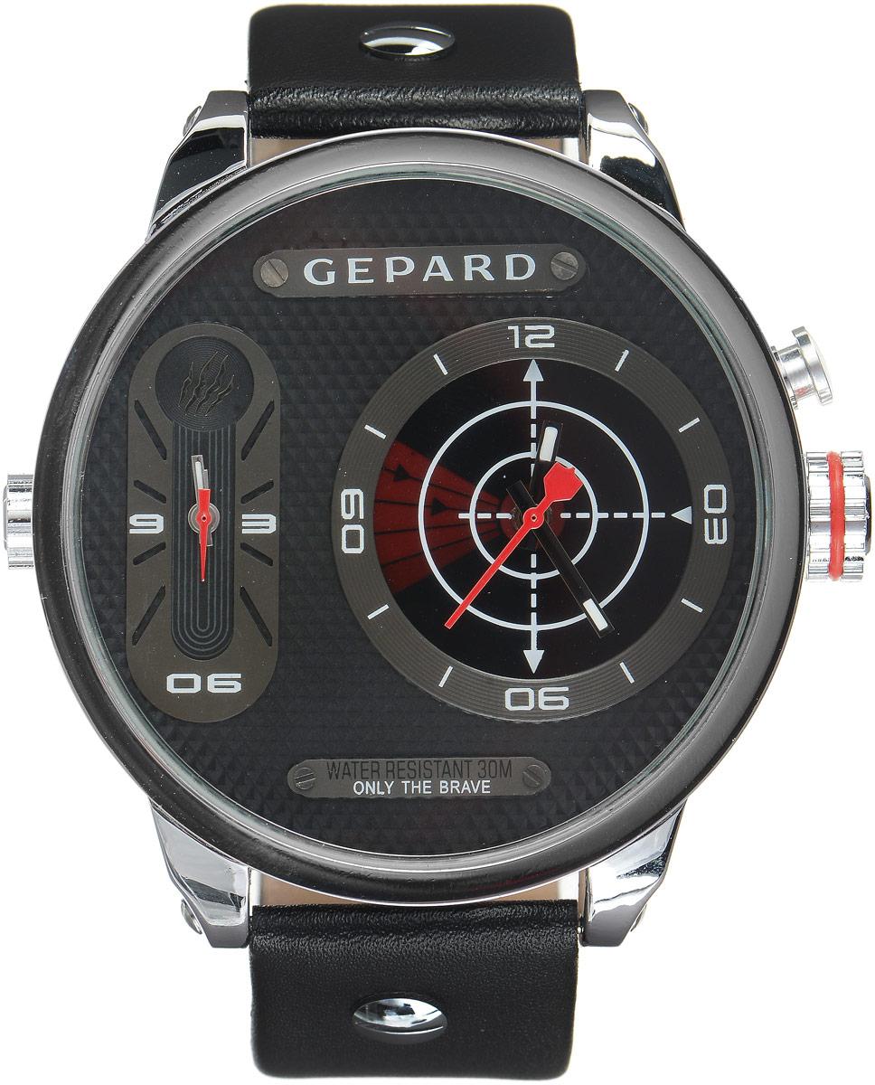 Наручные часы мужские Gepard, цвет: серебристый, красный. 1224A1L11224A1L1Наручные часы Gepard выполнены из металла и минерального стекла. Циферблат оформлен символикой бренда. На гильошированной поверхности два циферблата, позволяющих определить время в разных часовых поясах. При нажатии на кнопку над большой заводной головкой на круглом циферблате запускается и останавливается вращение сектора, обегающего круг за четыре секунды. Корпус изделия оснащен кварцевым механизмом, дополнен устойчивым к царапинам минеральным стеклом. Ремешок выполнен из искусственной кожи и оснащен пряжкой, благодаря которой можно с легкостью снимать и надевать изделие.