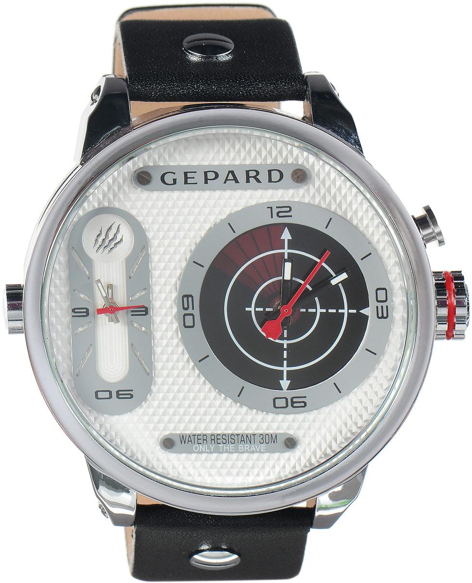 Наручные часы мужские Gepard, цвет: серебристый, красный. 1224A1L21224A1L2Наручные часы Gepard выполнены из металла и минерального стекла. Циферблат оформлен символикой бренда. На гильошированной поверхности два циферблата, позволяющих определить время в разных часовых поясах. При нажатии на кнопку над большой заводной головкой на круглом циферблате запускается и останавливается вращение сектора, обегающего круг за четыре секунды. Корпус изделия оснащен кварцевым механизмом, дополнен устойчивым к царапинам минеральным стеклом. Ремешок выполнен из искусственной кожи и оснащен пряжкой, благодаря которой можно с легкостью снимать и надевать изделие.