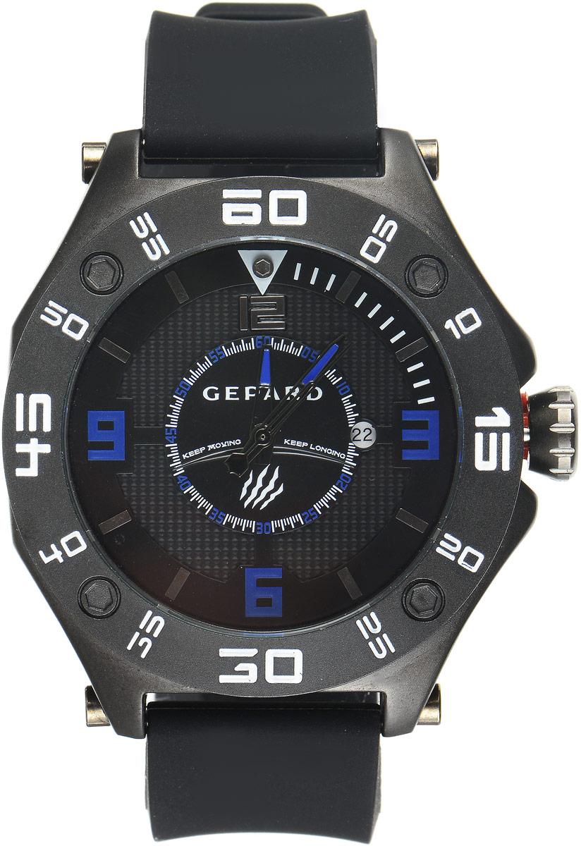 Наручные часы мужские Gepard, цвет: черный. 1222A11L31222A11L3Наручные часы Gepard выполнены из металла. Циферблат оформлен символикой бренда. Оригинальная композиция двухуровневого циферблата представлена в виде сочетания ярких арабских цифр и широких стальных знаков, которую оттеняет необычное гильоширование «женевские гвозди» на нижнем уровне. Часы оснащены кварцевым механизмом, дополнены устойчивым к царапинам минеральным стеклом. Задняя крышка изготовлена из высокотехнологичной нержавеющей стали. Часы снабжены эргономичным силиконовым ремнем с надежной застежкой.