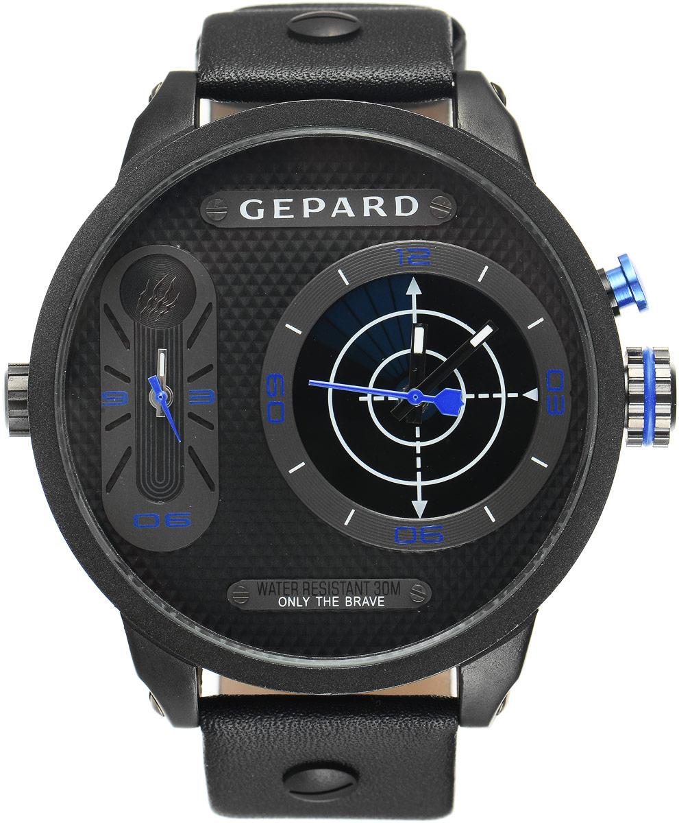 Наручные часы мужские Gepard, цвет: черный, синий. 1224A11L41224A11L4Наручные часы Gepard выполнены из металла и минерального стекла. Циферблат оформлен символикой бренда. На гильошированной поверхности два циферблата, позволяющих определить время в разных часовых поясах. При нажатии на кнопку над большой заводной головкой на круглом циферблате запускается и останавливается вращение сектора, обегающего круг за четыре секунды. Корпус изделия оснащен кварцевым механизмом, дополнен устойчивым к царапинам минеральным стеклом. Ремешок выполнен из искусственной кожи и оснащен пряжкой, благодаря которой можно с легкостью снимать и надевать изделие.