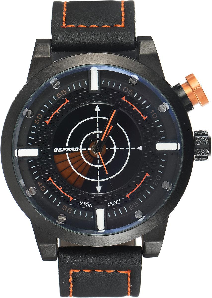 Наручные часы мужские Gepard, цвет: черный, оранжевый. 1225A11L51225A11L5Наручные часы Gepard выполнены из металла и минерального стекла. Циферблат оформлен в четырех уровнях, что придает этим бескомпромиссно мужским часам современный вид. При нажатии на большую кнопку над переводной головкой в центральной части циферблата запускается и останавливается вращение сектора, обегающего круг за четыре секунды. Минеральное стекло с сапфировым напылением устойчиво к царапинам. Ремень из искусственной кожи с контрастной прострочкой комплектуется стальной застежкой-пряжкой, гарантирующей комфорт и надежность.