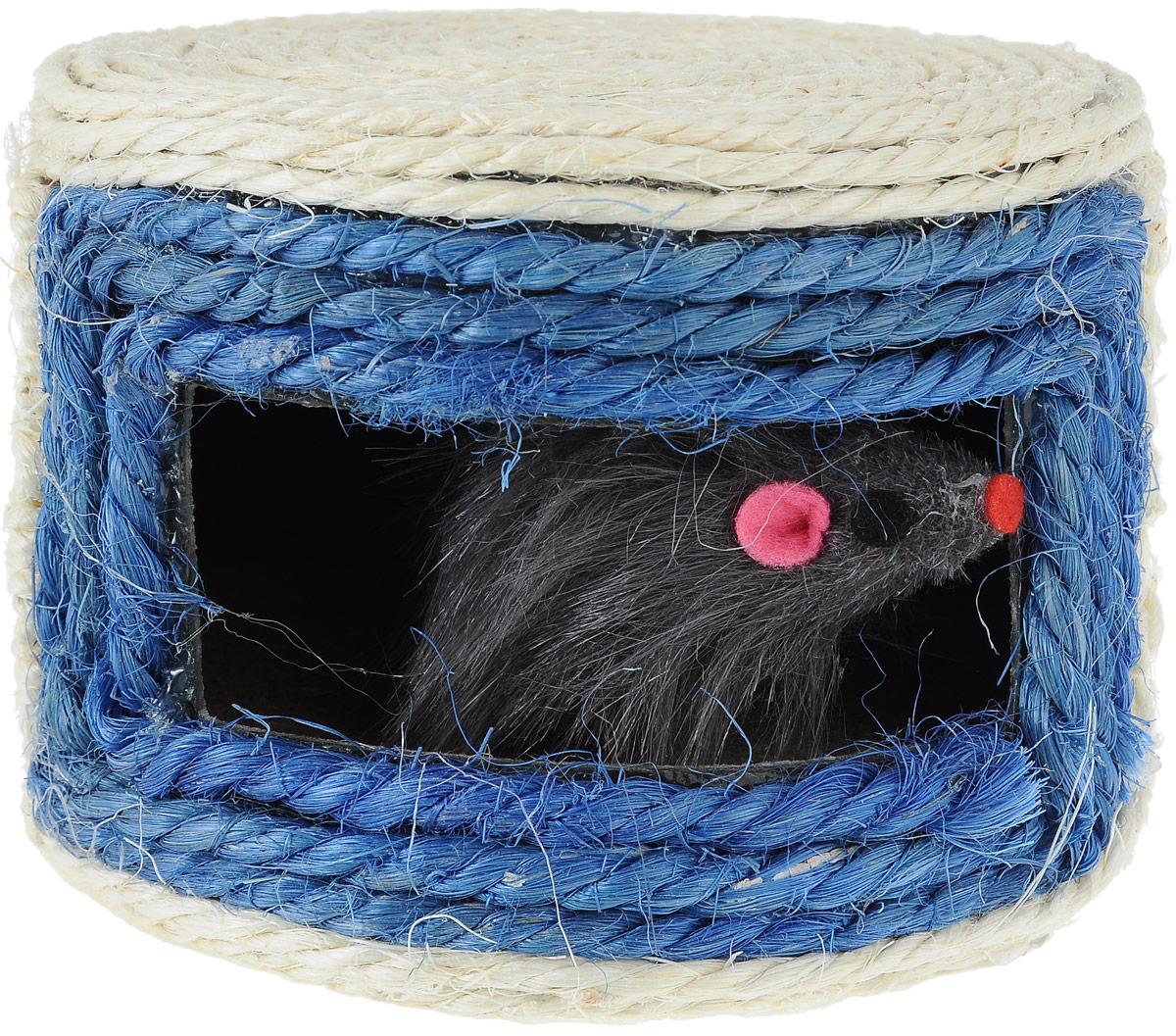 Игрушка для кошек Triol Норка с мышками, цвет: белый, синий, 14 х 14 х 10 смКк-03800Норка с мышками - это забавная когтеточка, разработанная компанией Triol. Данные когтеточки пользуются особенным вниманием у кошек, ведь о них можно не только поточить коготки, но и весело поиграть. Когтеточка изготовлена из сизаля. Когтеточки - обязательный аксессуар для личной гигиены кошек, который помогает животным избавиться от мешающихся шелушащихся слоев когтя, причиняющих дискомфорт подушечкам лап. Кроме того волокна сизаля - натуральный растительный продукт, который не только являться очень крепким и стойким к повреждениям, но так же имеет отталкивающее бактерии покрытие, благодаря чему абсолютно безвреден для кошек. Размеры игрушки: 14 х 14 х 10 см.