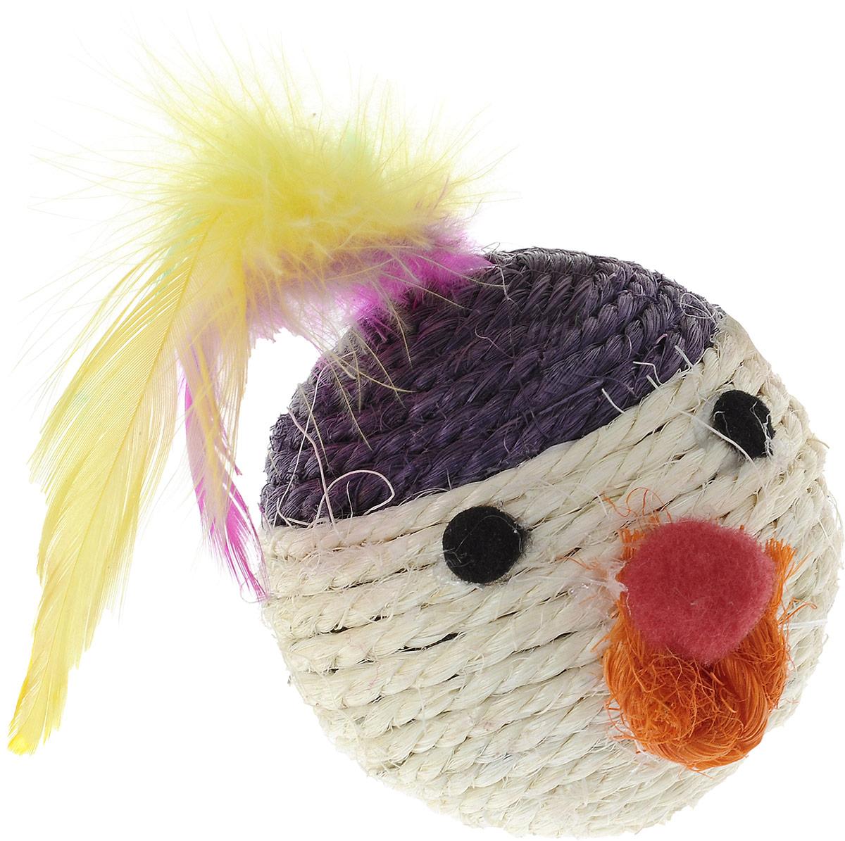 """Игрушка для кошек Triol """"Мяч мордашка"""", цвет: белый, желтый, фиолетовый, диамет 6,5 см Кк-03200"""