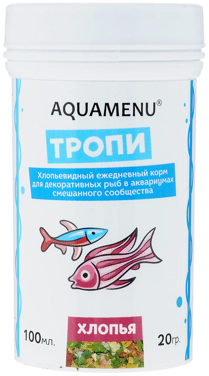 Корм Aquamenu Тропи, для декоративных рыб в аквариумах смешанного сообщества, 100 мл (20 г)00000001129Хлопьевидный корм Aquamenu Тропи предназначен для ежедневного кормления большинства видов аквариумных рыб. Корм производится по современной технологии из натуральных продуктов животного и растительного происхождения методом инфракрасной сушки. Связующие ингредиенты делают корм более экзотичным, ограничивая вымывание питательных веществ, аминокислот и витаминов во время пребывания в воде. Aquamenu Тропи - универсальный хлопьевидный корм для большинства видов аквариумных рыб: живородящих, цихлид, харациновых, лабиринтовых, карповых, различных сомов и других рыб. Состав: рыбная, пшеничная, соевая, травяная и водорослевая мука, крапива, микроэлементы, витамины A, B1, B2, B3, B4, B5, B6, B7, B8, B12, C, D3, E, K, H и специальные добавки. Товар сертифицирован.