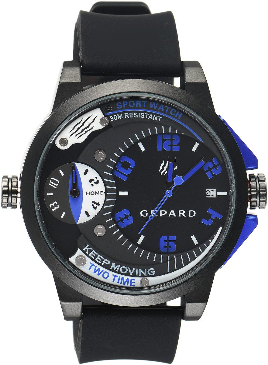 Наручные часы мужские Gepard, цвет: черный, синий. 1221A11L31221A11L3Наручные часы Gepard выполнены из металла и минерального стекла. Циферблат оформлен символикой бренда. Корпус часов оформлен матовой поверхностью с весьма оригинальным циферблатом. Часы оснащены кварцевым механизмом, дополнены устойчивым к царапинам минеральным стеклом. Ремешок выполнен из силикона и оснащен пряжкой, благодаря которой можно с легкостью снимать и надевать изделие.