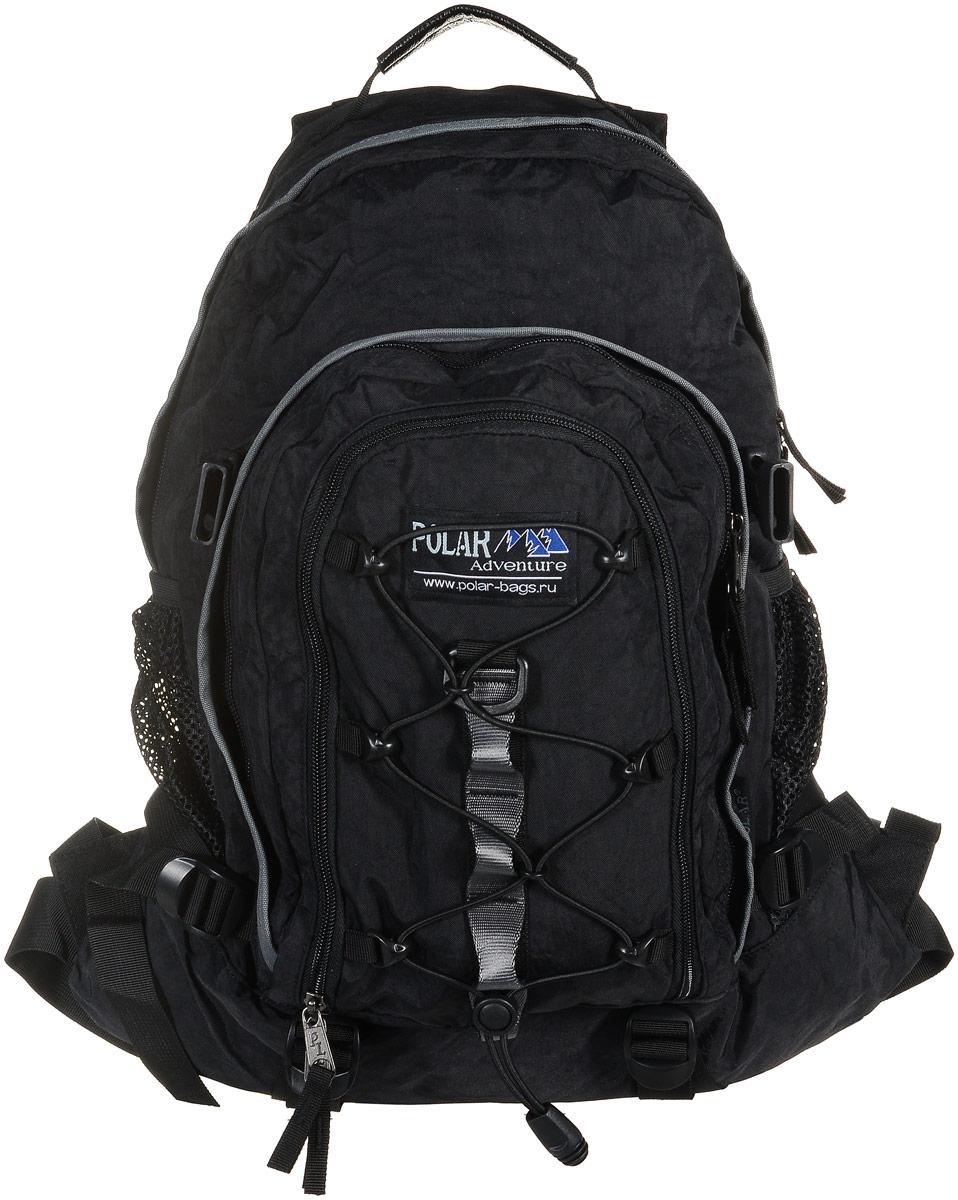 Рюкзак городской Polar Adventure, цвет: черный, 27 лП1956-05Polar Adventure - это городской рюкзак с модным дизайном. Полностью вентилируемая и удобная мягкая спинка, мягкие плечевые лямки создают дополнительный комфорт при ношении. Особенности: - центральный отсек для персональных вещей и документов A4 на двухсторонних молниях для удобства, - маленький карман для mp3, CD плеера, - петли для снаряжения дают возможность крепления на рюкзак дополнительного оборудования, - два боковых кармана под бутылки с водой на резинке, - регулирующая грудная стяжка с удобным фиксатором. Регулирующий поясной ремень, удерживает рюкзак на спине, что очень удобно при езде на велосипеде или продолжительных походах. Данная модель выполнена из полиэстера с водоотталкивающей пропиткой и прослужит вам долгие годы.