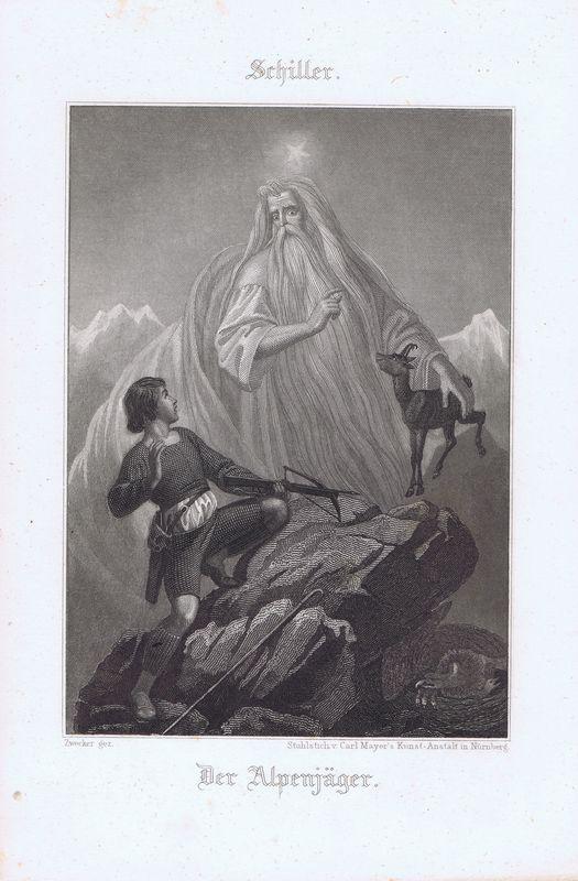 Альпийский охотник. Офорт. Германия, Штутгарт, 1880 год