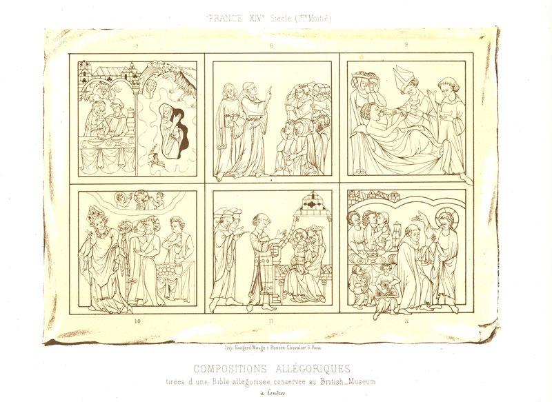 Аллегорические сцены из Библии. Хромолитография. Франция, Париж, 1857-1858 год