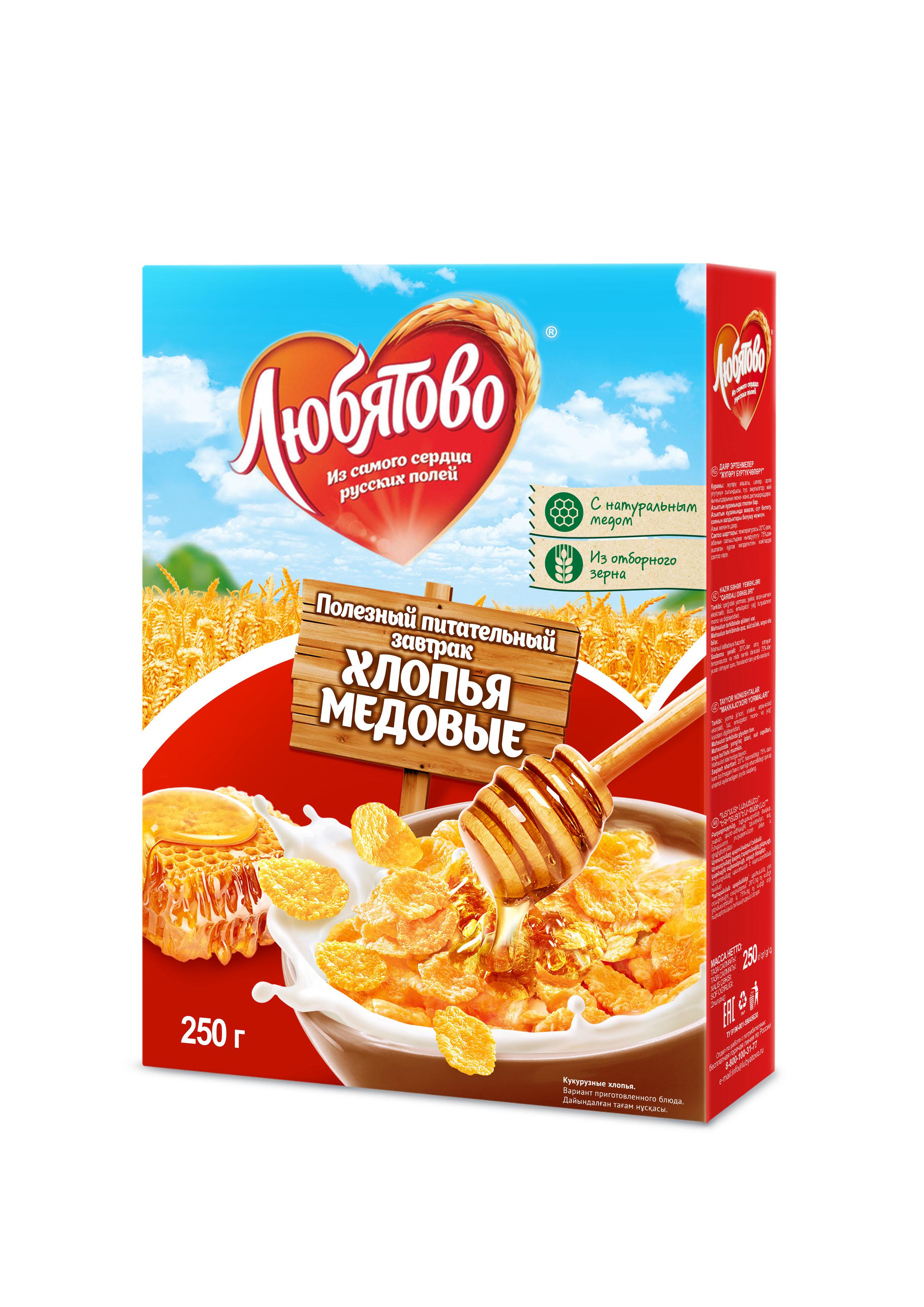 "Любятово Готовый завтрак ""Хлопья кукурузные медовые"", 250 г 1499"