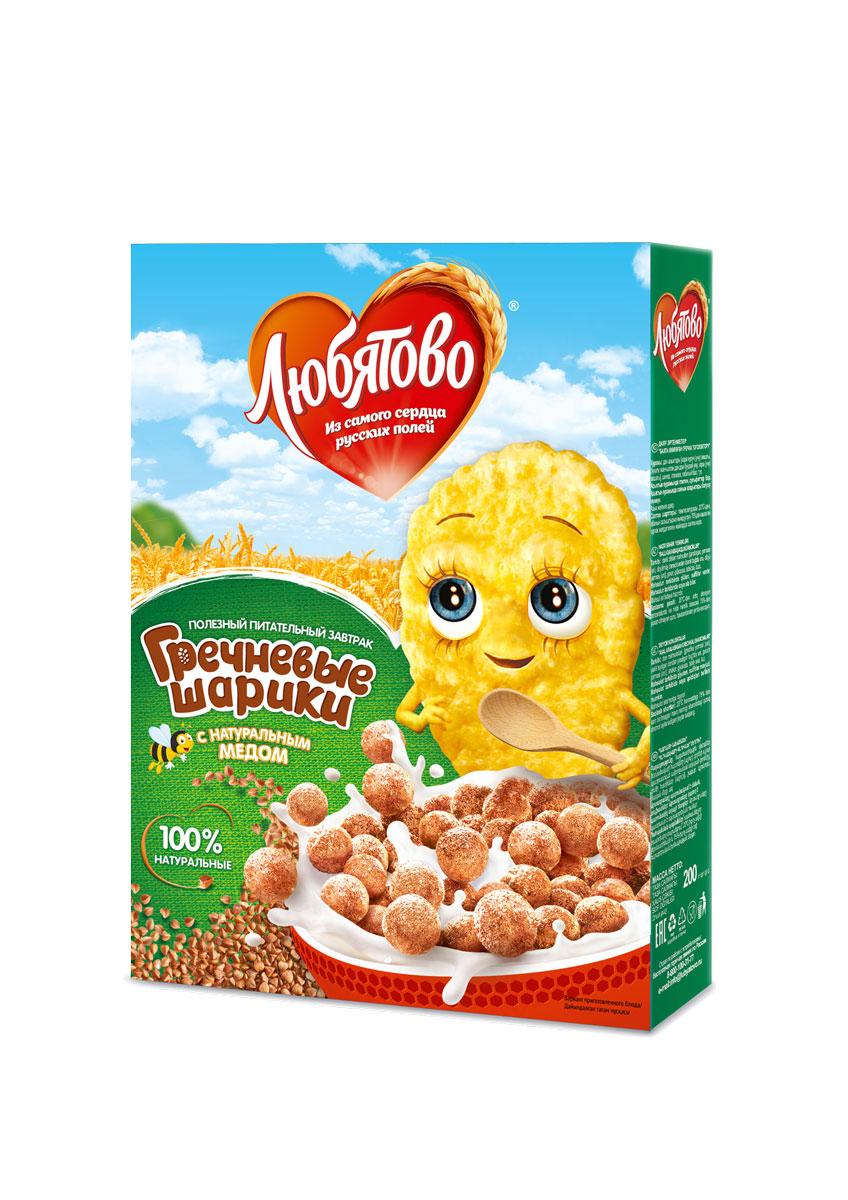 Любятово Готовый завтрак Гречневые шарики с медом, 200 г1578Овсяный завтрак для здорового питания с добавлением меда