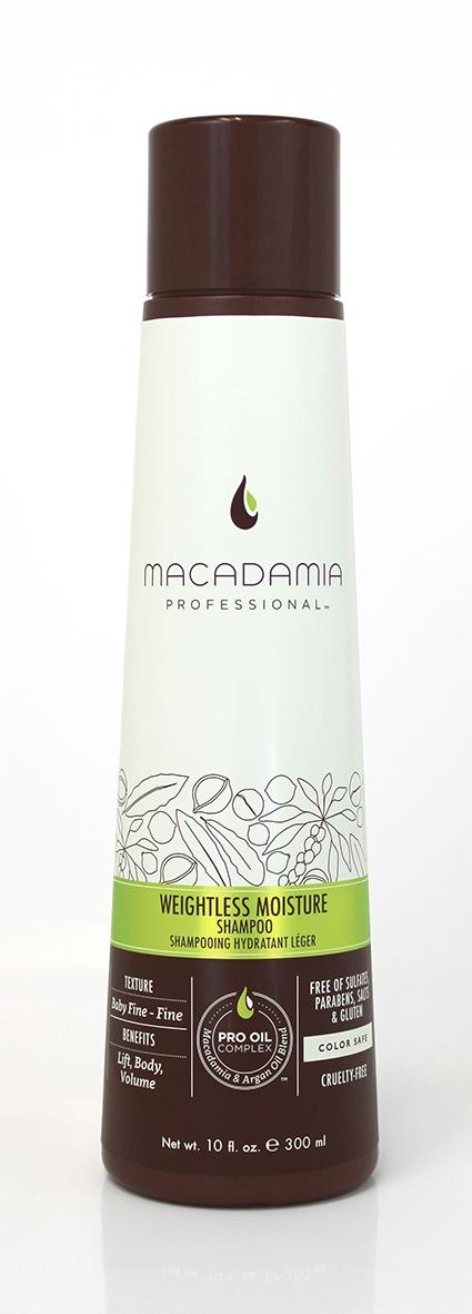 Macadamia Professional Шампунь увлажняющий для тонких волос, 300 мл100100Увлажняющий шампунь Macadamia Professional восстанавливает баланс влаги, придает плотность и объем даже самым тонким волосам. Содержит эксклюзивный Pro Oil Complex с маслами макадамии и арганы, масла авокадо и лесного ореха, которые обеспечивают увлажнение и восстановление, увеличивают плотность тонких волос, питают кожу головы. Содержит UVA/UVB фильтры, сохраняет цвет окрашенных волос. Защищает от воздействия неблагоприятных факторов окружающей среды.