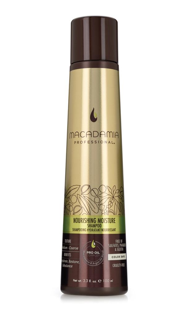 Macadamia Professional Шампунь питательный для всех типов волос, 100 мл100201Шампунь Macadamia Professional обеспечивает сбалансированное питание, восстанавливает баланс влажности нормальных и сухих волос. Эксклюзивный комплекс Pro Oil Complex с маслами макадамии и арганы дает увлажнение, укрепление и восстановление волос. Масла авокадо, лесного ореха и витамины А, С, Е обеспечивают антивозрастной уход. Применение шампуня защищает волосы от воздействия неблагоприятных факторов окружающей среды.