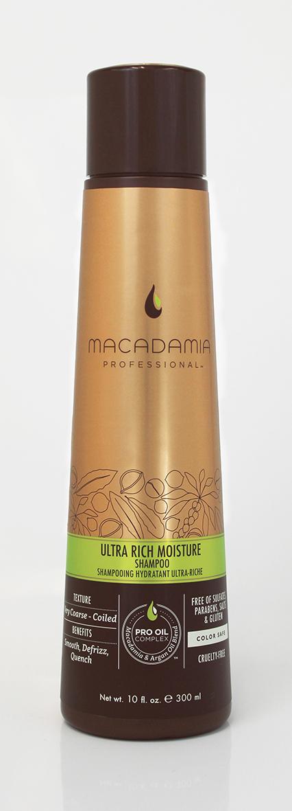 Macadamia Professional Шампунь увлажняющий для жестких волос, 300 мл100300Шампунь Macadamia Professional обеспечивает глубокое увлажнение волос и кожи головы благодаря сочетанию эксклюзивного комплекса Pro Oil Complex, масел авокадо и монгонго. Убирает эффект пушистости, делает волосы мягкими. Содержит UVA/UVB фильтры, сохраняя цвет окрашенных волос. Защищает волосы от неблагоприятных факторов окружающей среды.