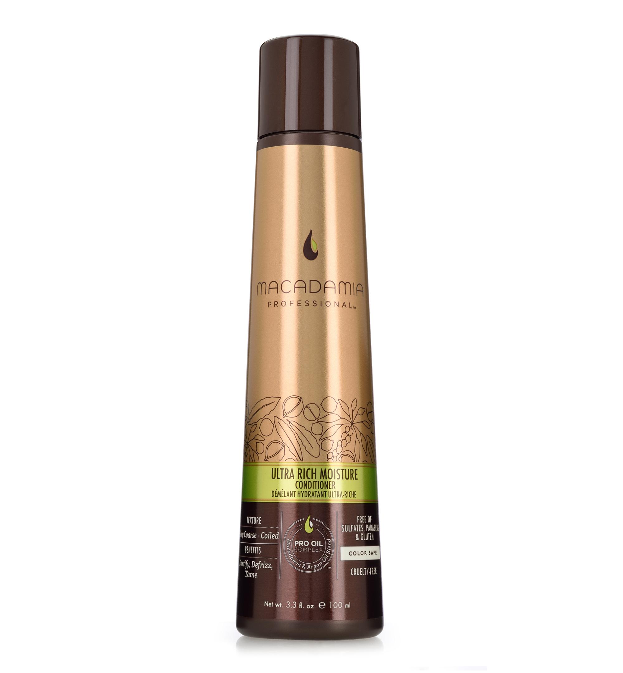 Macadamia Professional Кондиционер увлажняющий для жестких волос, 100 мл200301Сочетание эксклюзивного комплекса Pro Oil Complex, масел авокадо и монгонго в увлажняющем кондиционере Macadamia Professional обеспечивает интенсивное восстановление и увлажнение волос, устраняет эффект пушистости и подчеркивает естественную форму локонов и текстуру волос. Сочетание аминокислот шелка, витаминов A, C и E укрепляет волосы и придает эластичность. Обеспечивает защиту от действия УФ-лучей и неблагоприятных факторов окружающей среды.