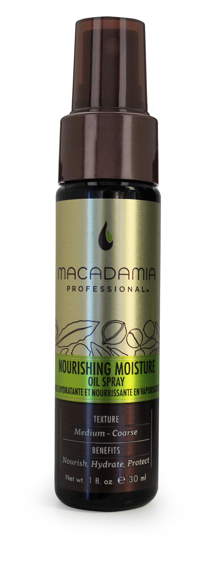 Macadamia Professional Уход масло-спрей увлажняющий, 30 мл400201Невесомый уход Macadamia Professional в виде спрея c ультратонким распылением содержит эксклюзивный Pro Oil Complex, мгновенно впитывается в волосы, защищает их, придает мягкость и блеск. Витамин Е увлажняет и обеспечивает длительную гладкость, предохраняет волосы от спутывания, устраняя эффект пушистости. Обеспечивает натуральную УФ-защиту и сохранение цвета окрашенных волос.