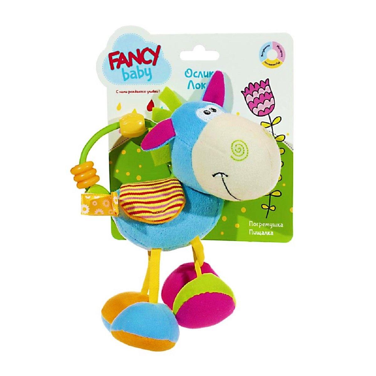 Fancy Развивающая игрушка Ослик ЛокиDONK0Развивающая игрушка с элементами: погремушка, пищалка, шуршалки, держатель с бусинами.