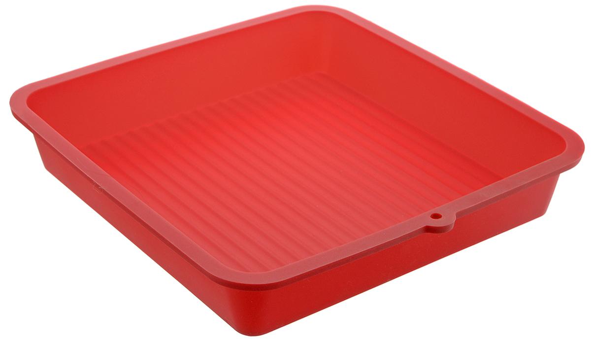 Форма для выпечки LaSella, силиконовая, цвет: красный, 23 х 23 х 4,5 смKL40B005_красныйФорма для выпечки LaSella выполнена из высококачественного 100% пищевого силикона. Идеально подходит для приготовления выпечки, десертов и холодных закусок. Форма выдерживает температуру от -40 до +240°C, обладает естественными антипригарными свойствами. Не выделяет вредных веществ при высоких температурах. Подходит для использования в духовке и микроволновой печи. Размер формы: 23 х 23 х 4,5 см. Размер дна: 19 х 19 см.