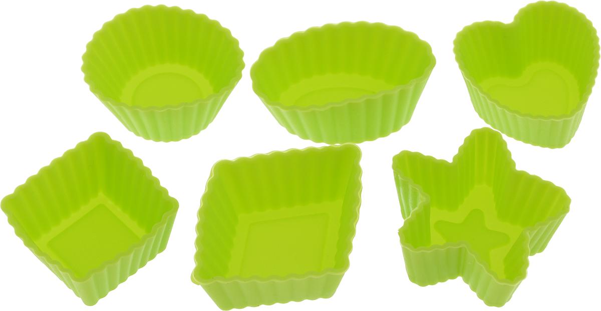 Набор форм для выпечки LaSella, цвет: салатовый, 6 штKL40B035_салатовыйНабор LaSella состоит из шести форм, выполненных из силикона с рельефными стенками. Изделия предназначены для выпечки и заморозки. Формочки выполнены в виде круга, овала, звезды, квадрата и сердца. Силиконовые формы для выпечки имеют много преимуществ по сравнению с традиционными металлическими формами и противнями. Они идеально подходят для использования в микроволновых, газовых и электрических печах при температурах до +210°С. В случае заморозки до -40°С. Благодаря гибкости и антипригарным свойствам силикона, готовое изделие легко извлекается из формы. Силикон абсолютно безвреден для здоровья, не впитывает запахи, не оставляет пятен, легко моется. С таким набором LaSella вы всегда сможете порадовать своих близких оригинальной выпечкой. Средний размер формы: 3 х 3 х 1,5 см.