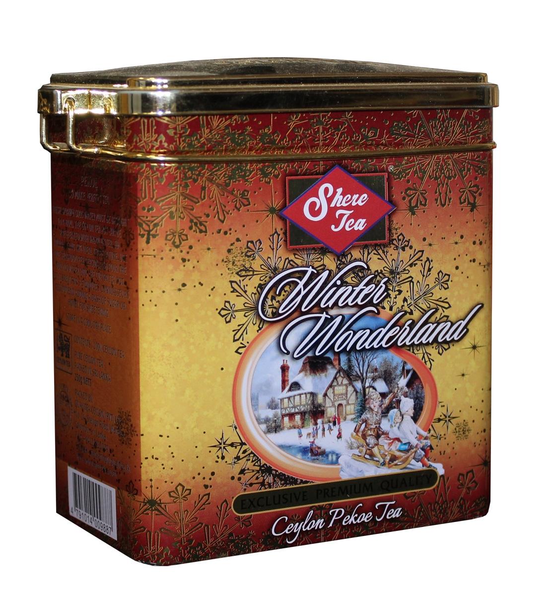 Shere Tea Подарочный Зимняя страна чудес чай черный листовой, 250 г4791014009887Чай Шери Подарочная коллекция, Зимнее страна чудес. Производитель: Кволити Цейлон. Подарочная упаковка изготовлена из металла с элементами конгрева. Крышка снабжена клипсой. Стандарт: РЕКОЕ- крупный лист. Этот чай состоит из более коротких и более взрослых, чем OP листьев. В сбор идут, как правило, вторые от почки листья. Поэтому в этом чае меньше содержание кофеина, чем в ОР, но зато он имеет более выраженную горчинку во вкусе, что нравится многим любителям чая. Чем более взрослый лист, тем в нем больше танина и дубильных веществ, которые и дают эту самую горчинку. Чай имеет яркий, прозрачный, интенсивный, настой. Аромат чая полный, приятный, выражен достаточно ярко.
