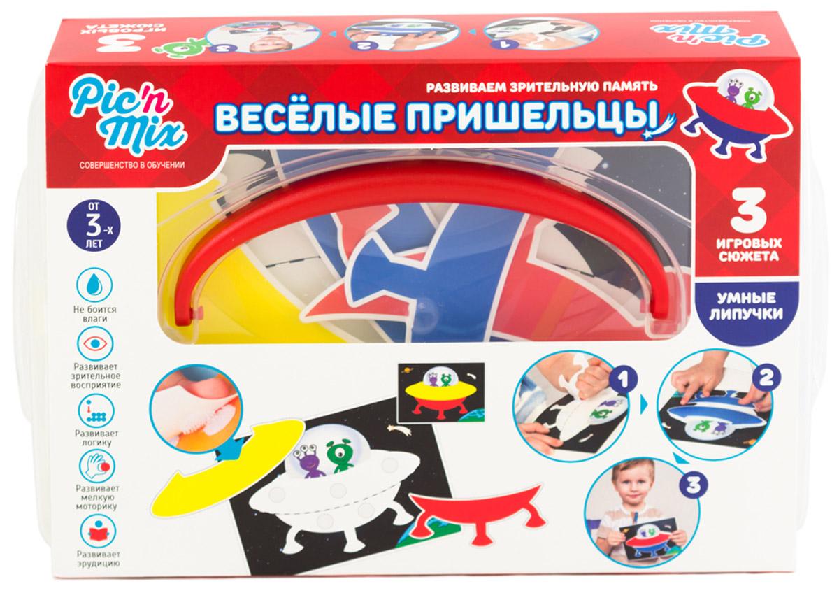 PicnMix Обучающая игра Веселые пришельцы112017Обучающая игра состоит из 3 игровых полей и 27 карточек-образцов. Игра предназначена для нескольких игроков. Меняя по очереди цветовые комбинации на игровых полях, дети тренируют зрительную память и усваивают навыки соревнования. Развиваются следующие навыки: логическое мышление; восприятие цвета; зрительная память; мелкая моторика рук.