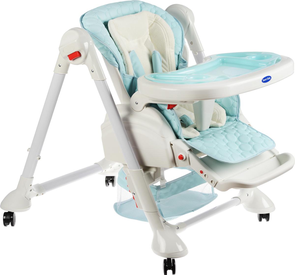 Sweet Baby Стульчик для кормления Luxor Multicolor Blu313086Многофункциональный стульчик Luxor Multicolor Blu от торговой марки Sweet Baby сделает процесс кормления максимально удобным для малыша и для вас. За счёт регулировки стульчика по наклону и высоте родители могут усадить малыша в комфортное положение. И если сразу после кормления кроха уснул, оставьте его подремать в уютном креслице. За безопасность ребёнка отвечают пятиточечные ремни безопасности и разделитель для ножек. Изделие также имеет 4 колеса, благодаря чему стульчик легко перемещать в помещении, а стопперы обеспечат устойчивость. Поднос можно мыть в посудомоечной машине - это преимущество, несомненно, отметят мамы. Особенности: Регулируемый 5-точечный ремень безопасности; Легко снимающийся поднос; Съемная накладка на поднос; 2 углубления для стаканов; 3 позиции установки подноса; Поднос можно подвесить на задних ножках стула; Возможность мойки подноса в посудомоечной машине; 3 позиции...