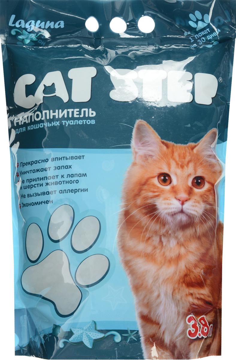 """Наполнитель для кошачьих туалетов """"Cat Step"""", силикагель, лагуна, 3,8 л НК-012"""