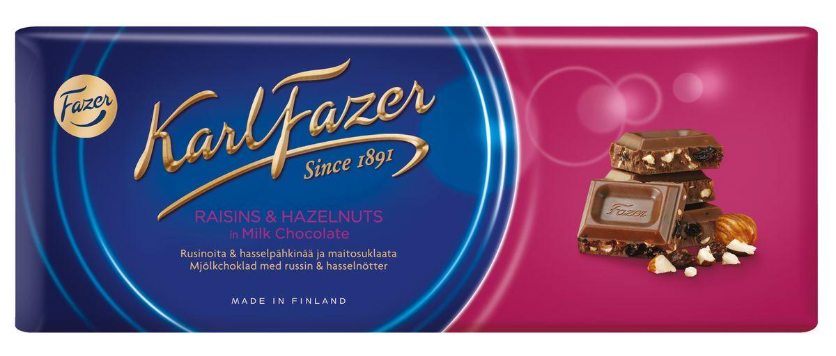 Karl Fazer Молочный шоколад с изюмом и фундуком, 200 г 5719