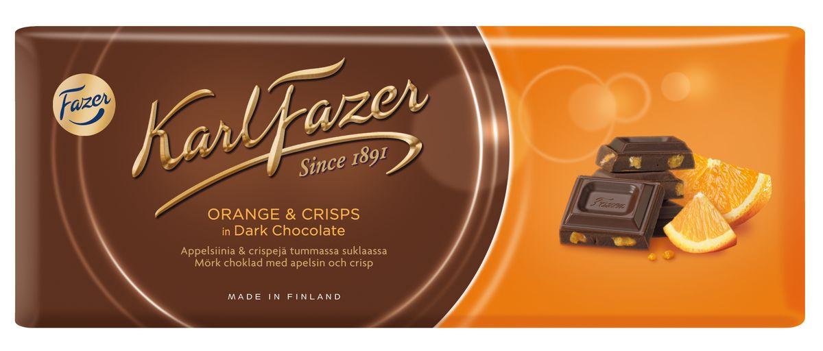 Karl Fazer Темный шоколад со вкусом апельсина, 200 г5839Порадуйте себя ярким вкусом темного шоколада Karl Fazer с освежающей ноткой апельсина!