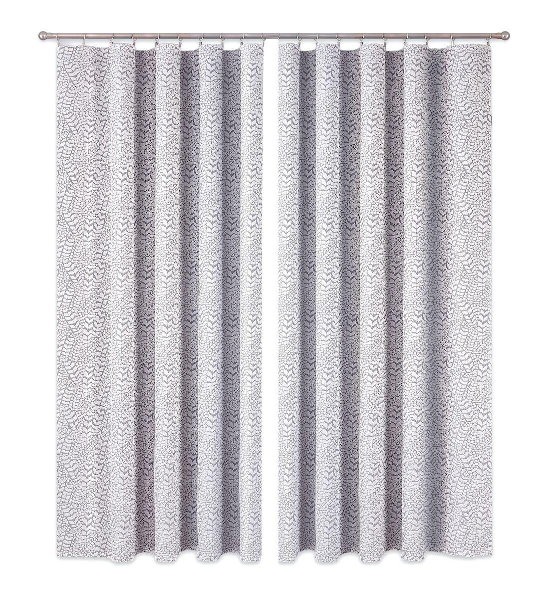 Комплект штор P Primavera Firany, цвет: серый, высота 250 см. 11100081110008Комплект штор из полиэстровой жаккардовой ткани с пришитой шторной лентой. Размер - ширина 180 см высота 250см. Набор 2 штуки. Цвет серый. Размер: ширина 180 х высота 250