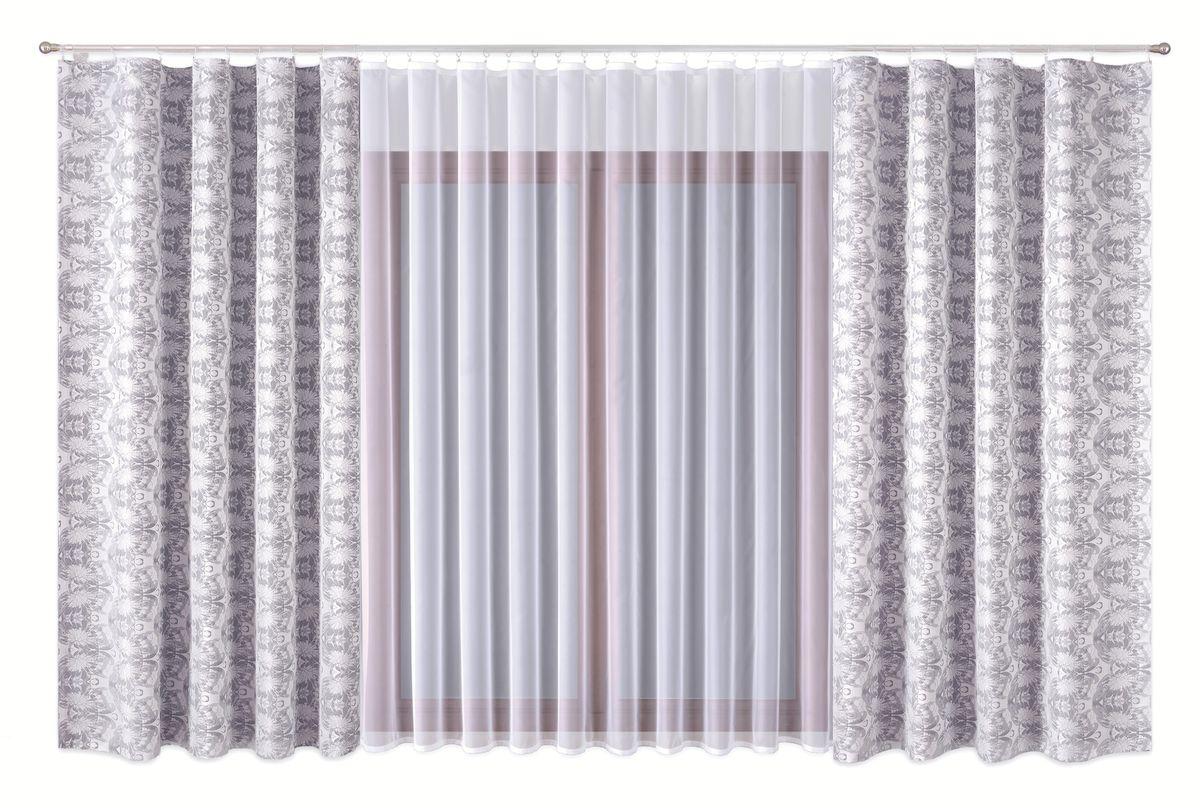 Комплект штор P Primavera Firany, цвет: серый, белый, высота 270 см. 11100141110014Комплект штор из полиэстровой жаккардовой ткани с пришитой шторной лентой. В комплете тоже занавеска с лентой (полиэстровый буаль).Размер шторы - ширина 180 см высота 270см. Набор 2 штуки. Размер занавески: ширина 400см высота 270см. Цвет штор серо-белый. Цвет занавески белый. Размер: ширина 400 х высота 270
