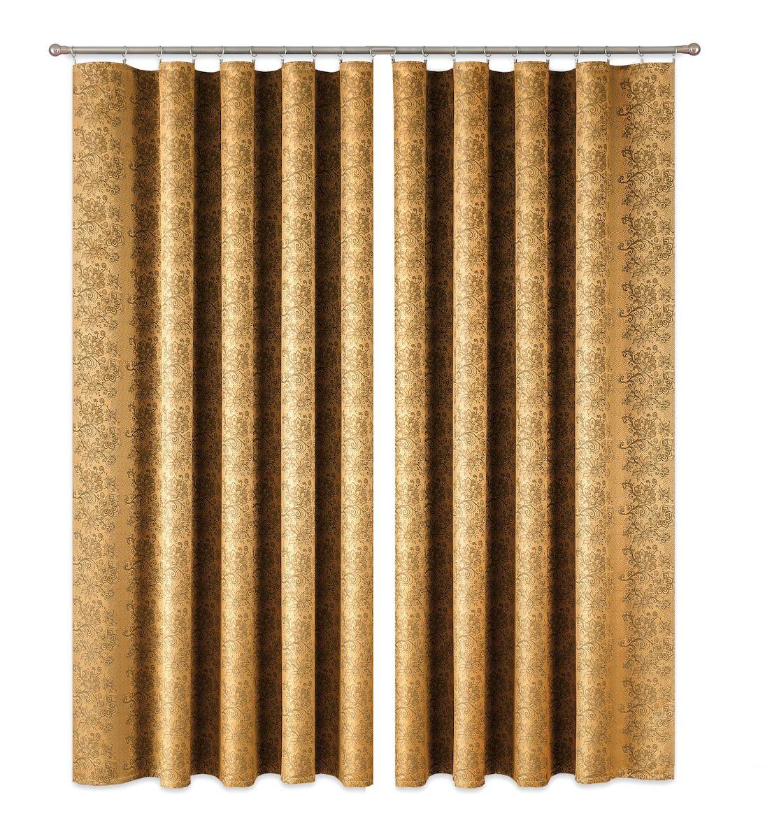 Комплект штор P Primavera Firany, цвет: золотистый, высота 270 см. 11100151110015Комплект штор из полиэстровой жаккардовой ткани с пришитой шторной лентой. Размер - ширина 180 см высота 270см. Набор 2 штуки. Цвет золото. Размер: ширина 180 х высота 270