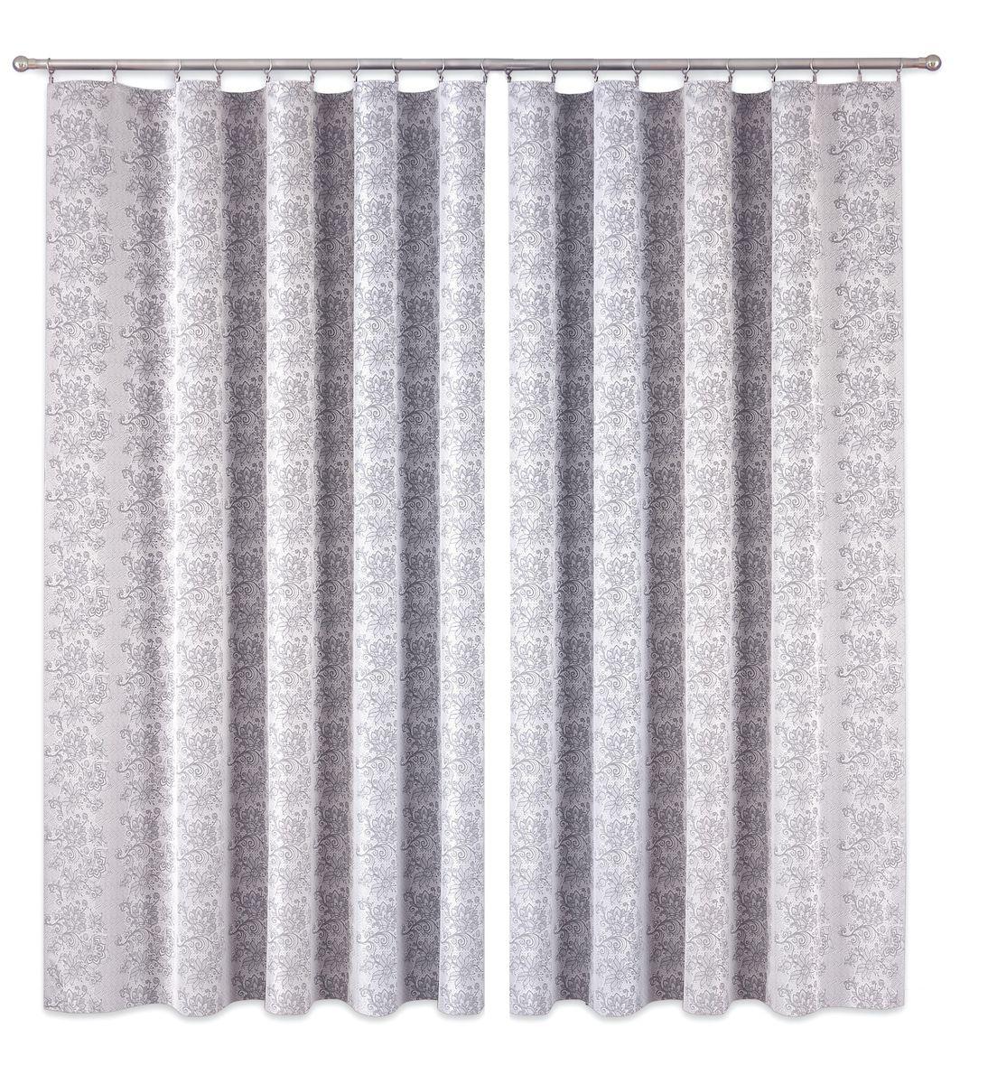 Комплект штор P Primavera Firany, цвет: серый, высота 260 см. 11100161110016Комплект штор из полиэстровой жаккардовой ткани с пришитой шторной лентой. Размер - ширина 180 см высота 260см. Набор 2 штуки. Цвет серый. Размер: ширина 180 х высота 260