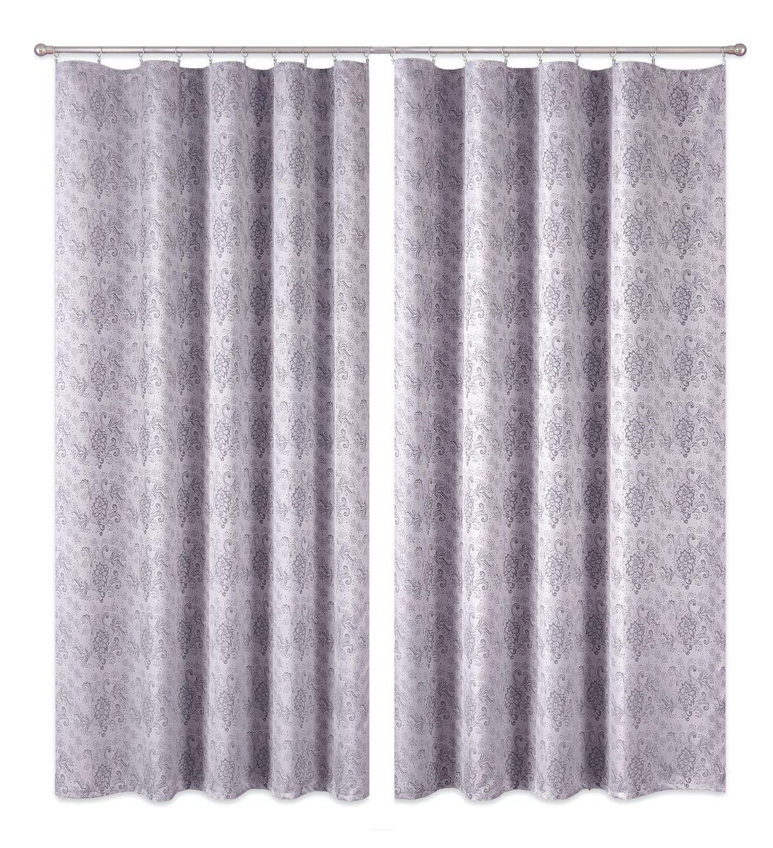 Комплект штор P Primavera Firany, цвет: серый, высота 270 см. 11100221110022Комплект штор из полиэстровой жаккардовой ткани с пришитой шторной лентой. Размер - ширина 180 см высота 270см. Набор 2 штуки. Цвет серый. Размер: ширина 180 х высота 270