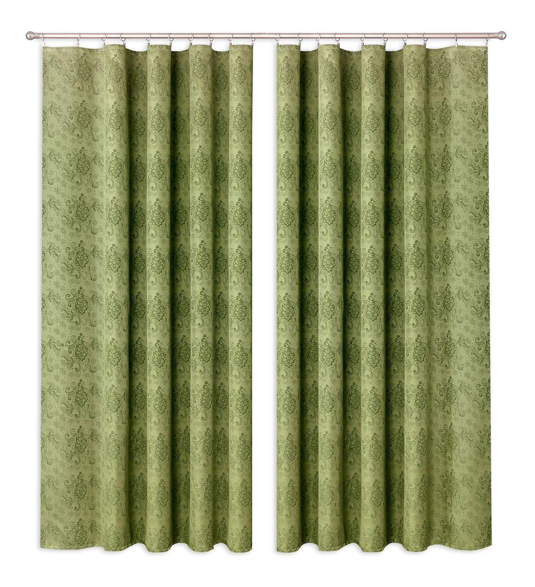 Комплект штор P Primavera Firany, цвет: темно-зеленый, высота 280 см. 11100241110024Комплект штор из полиэстровой жаккардовой ткани с пришитой шторной лентой. Размер - ширина 180 см высота 280см. Набор 2 штуки. Цвет зелёный. Размер: ширина 180 х высота 280