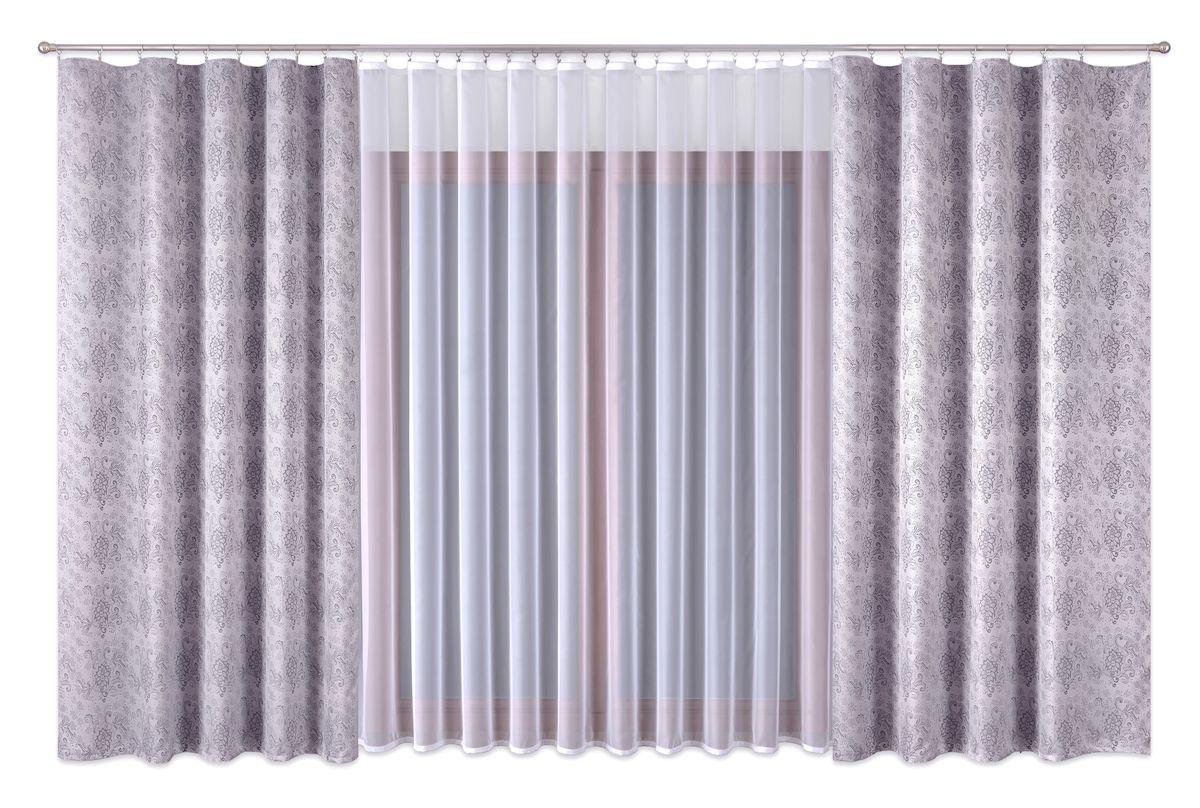 Комплект штор P Primavera Firany, цвет: серый, белый, высота 260 см. 11100251110025Комплект штор из полиэстровой жаккардовой ткани с пришитой шторной лентой. В комплете тоже занавеска с лентой (полиэстровый буаль).Размер шторы - ширина 180 см высота 260см. Набор 2 штуки. Размер занавески: ширина 400см высота 260см. Цвет штор серый. Цвет занавески белый. Размер: ширина 400 х высота 260