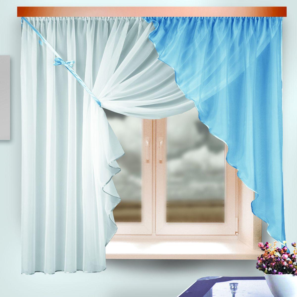 Комплект штор для кухни Zlata Korunka, на ленте, цвет: белый, голубой, высота 170 см. 333310333310Комплект штор для кухни Zlata Korunka, выполненный из полиэстера, великолепно украсит любое окно. Комплект состоит из ламбрекена и тюля. Оригинальный крой и приятная цветовая гамма привлекут к себе внимание и органично впишутся в интерьер помещения. Этот комплект будет долгое время радовать вас и вашу семью! Комплект крепится на карниз при помощи ленты, которая поможет красиво и равномерно задрапировать верх. В комплект входит: Ламбрекен: 1 шт. Размер (Ш х В): 142 х 170 см. Тюль: 1 шт. Размер (Ш х В): 290 х 170 см.