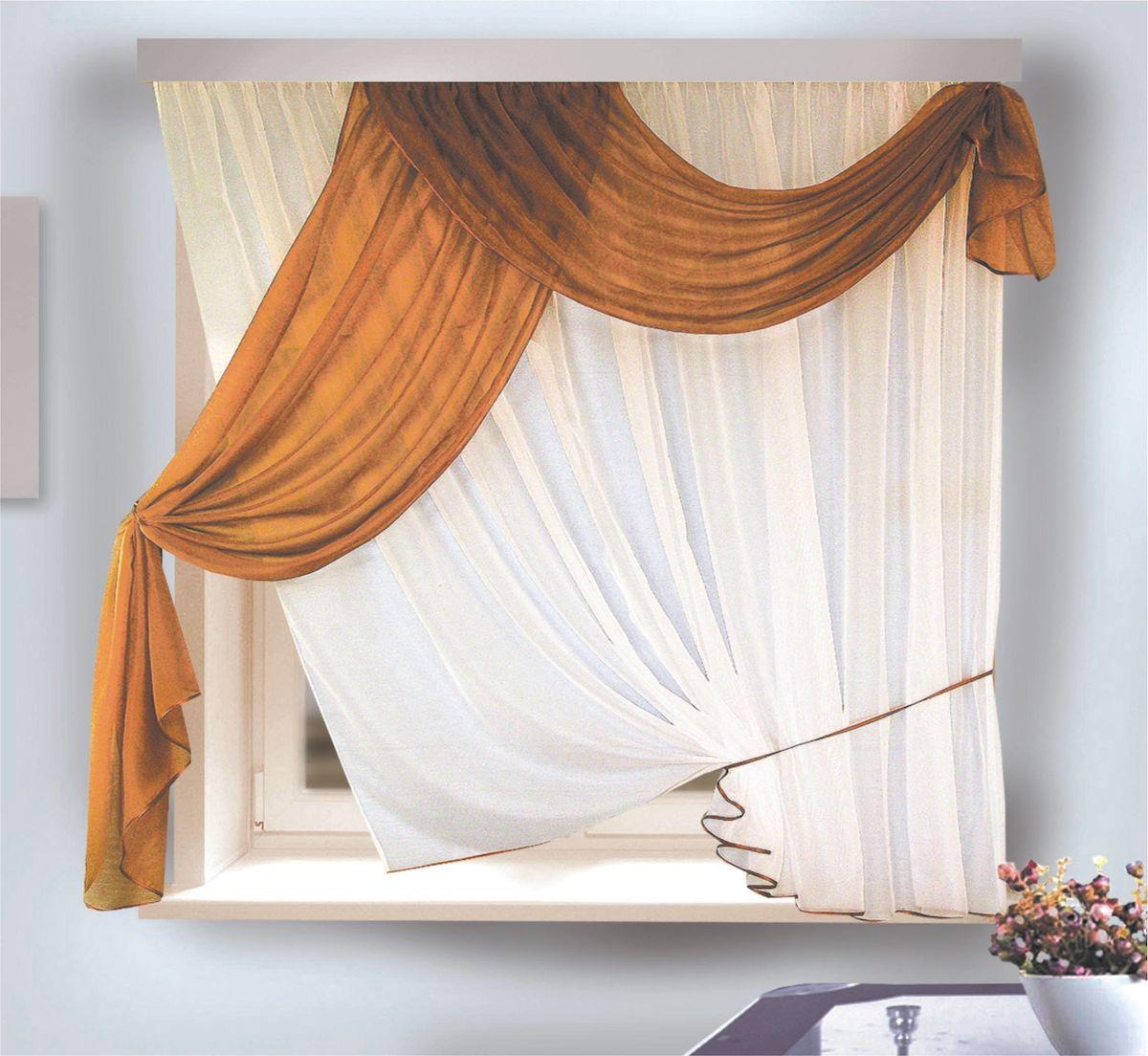 Комплект штор для кухни Zlata Korunka, на ленте, цвет: белый, коричневый, высота 170 см. 333311333311Комплект штор для кухни Zlata Korunka, выполненный из полиэстера, великолепно украсит любое окно. Комплект состоит из тюля, ламбрекена и трех подхватов (2 из них пришиты к тюлю). Оригинальный дизайн и приятная цветовая гамма привлекут к себе внимание и органично впишутся в интерьер помещения. Этот комплект будет долгое время радовать вас и вашу семью! Комплект крепится на карниз при помощи ленты, которая поможет красиво и равномерно задрапировать верх. В комплект входит: Ламбрекен: 1 шт. Размер (Ш х В): 90 х 170 см. Тюль: 1 шт. Размер (Ш х В): 280 х 170 см. Подхват: 3 шт.