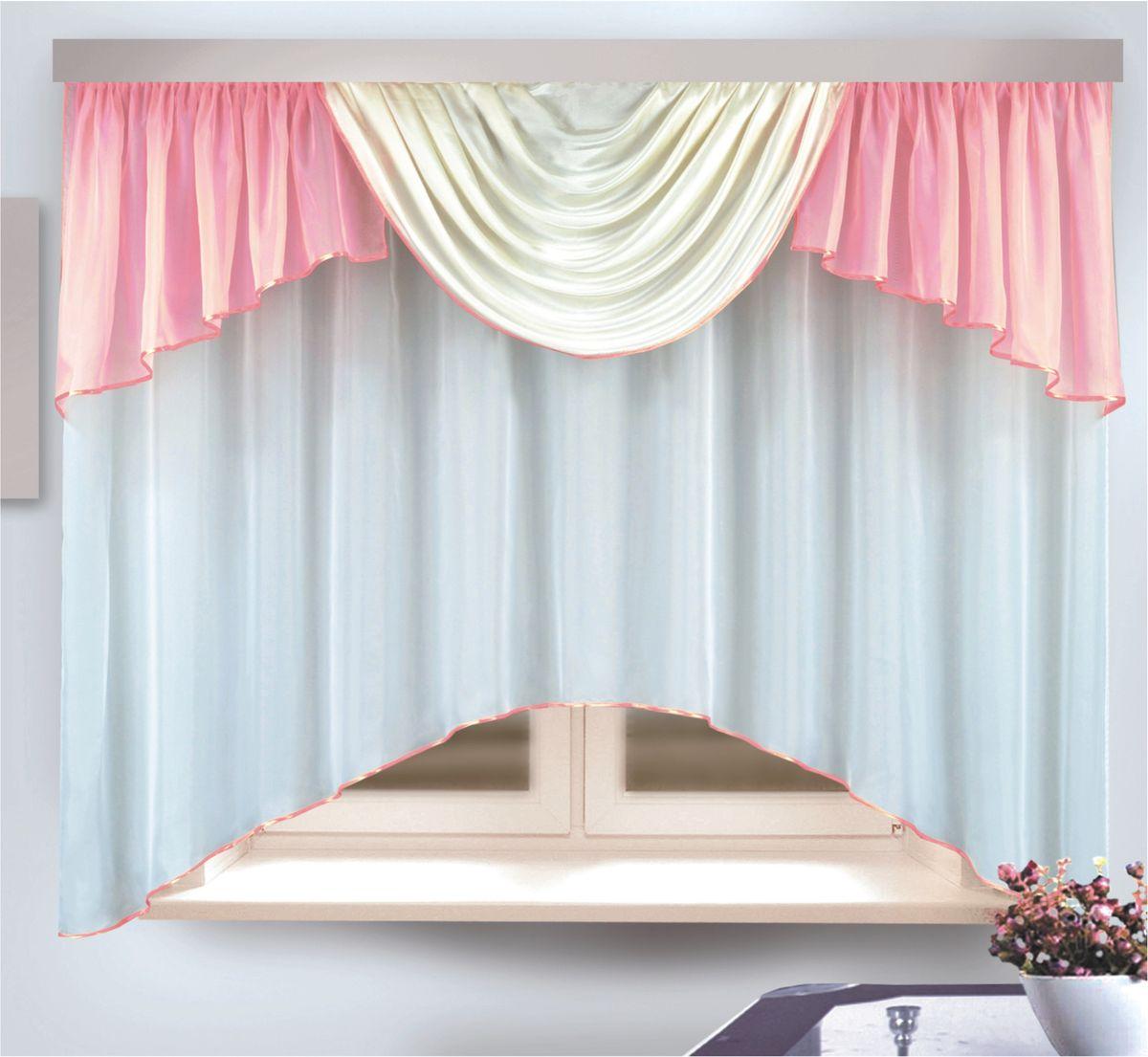 Комплект штор для кухни Zlata Korunka, на ленте, цвет: розовый, высота 170 см. 333312333312Комплект штор для кухни Zlata Korunka, выполненный из полиэстера, великолепно украсит любое окно. Комплект состоит из тюля и ламбрекена. Оригинальный крой и приятная цветовая гамма привлекут к себе внимание и органично впишутся в интерьер помещения. Этот комплект будет долгое время радовать вас и вашу семью! Комплект крепится на карниз при помощи ленты, которая поможет красиво и равномерно задрапировать верх. В комплект входит: Тюль: 1 шт. Размер (Ш х В): 290 х 170 см. Ламбрекен: 1 шт. Размер (Ш х В): 450 х 80 см.