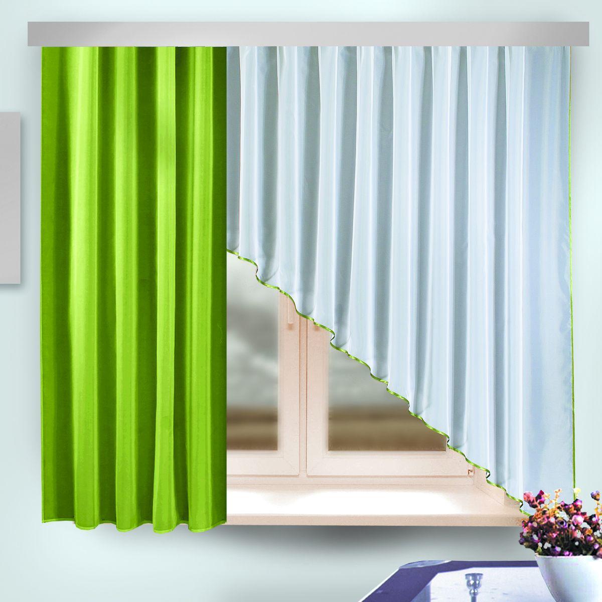 Комплект штор Zlata Korunka, на ленте, цвет: зеленый, белый, высота 170 см. 333314333314Комплект штор Zlata Korunka, выполненный из полиэстера, великолепно украсит любое окно. Комплект состоит из шторы и ламбрекена. Изящная форма и приятная цветовая гамма привлекут к себе внимание и органично впишутся в интерьер помещения. Этот комплект будет долгое время радовать вас и вашу семью! Комплект крепится на карниз при помощи ленты, которая поможет красиво и равномерно задрапировать верх. В комплект входит: Ламбрекен: 1 шт. Размер (Ш х В): 95 см х 170 см. Штора: 1 шт. Размер (Ш х В): 290 см х 170 см.